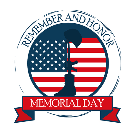 happy memorial day celebration card with usa flag vector illustration design
