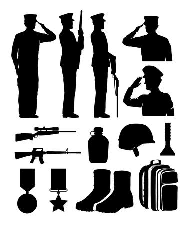 兵士と機器のシルエットベクトルイラストデザイン