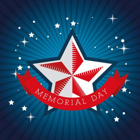 Feliz celebración del día conmemorativo estrella con diseño de ilustración de vector de bandera de Estados Unidos