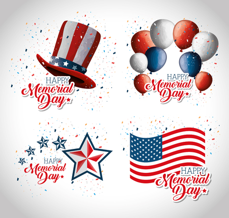 happy memorial day celebration set flyers vector illustration design