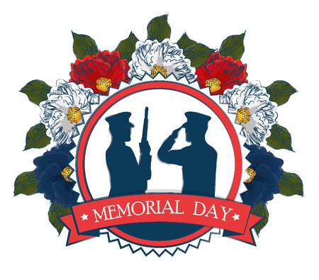 happy memorial day celebration card with soldier silhouette vector illustration design