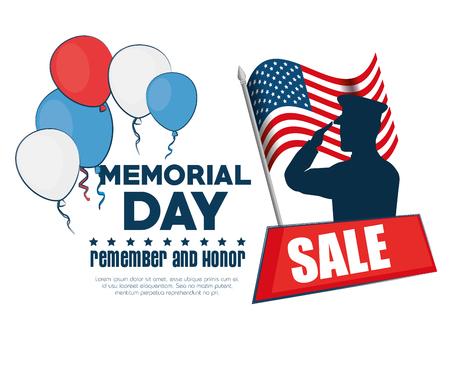memorial day sale poster vector illustration design