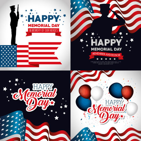 happy memorial day celebration set flyers vector illustration design