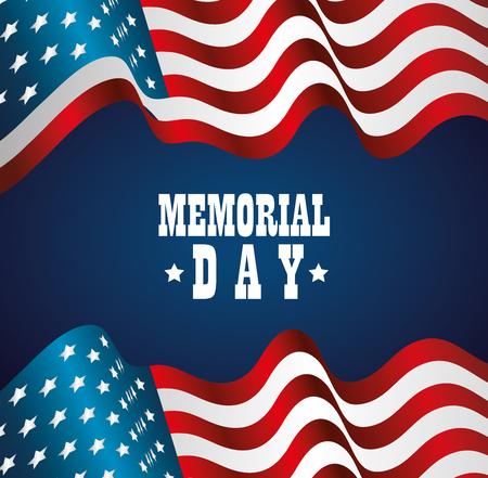 Feliz tarjeta de celebración del día conmemorativo con diseño de ilustración de vector de bandera de Estados Unidos