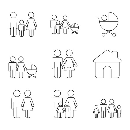 infographics set demographic population people vector illustration Çizim