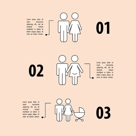 infographics demographic people couple family vector illustration