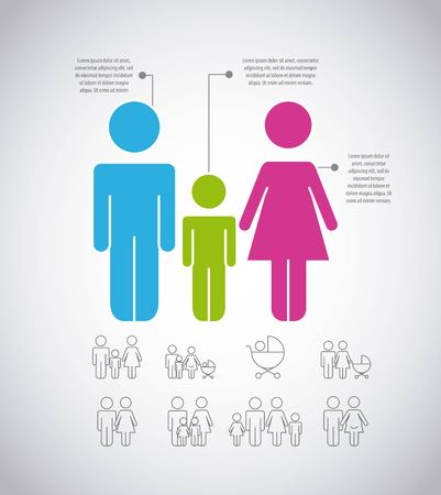 infographics people family population information pictogram vector illustration