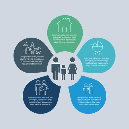 demografische mensen statistiek elementen infographic familie vector illustratie