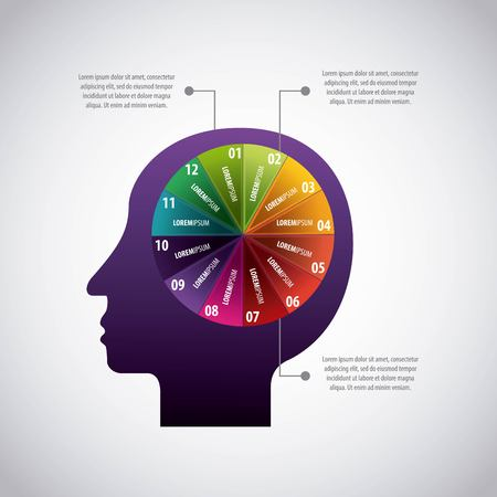 colored pie chart in human head idea infographic vector illustration