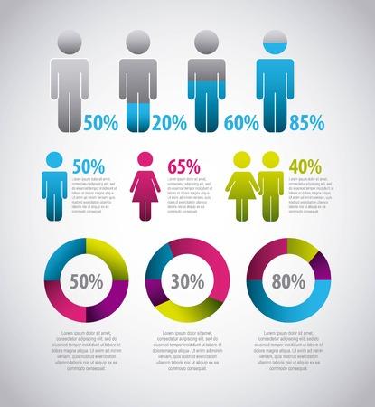 zakelijke statistieken grafiek demografie bevolking grafiek mensen moderne infographic vector illustratie