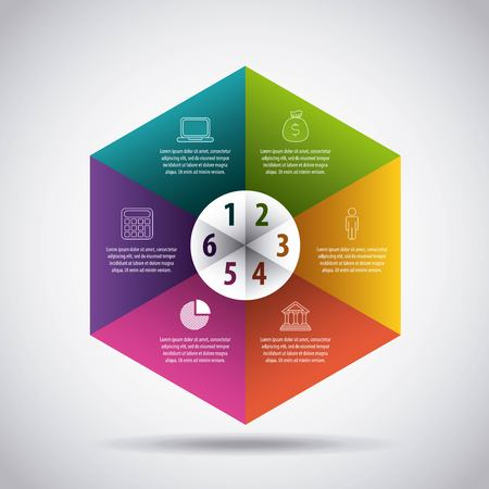 infographic template with motif of hexagon divided to six sections vector illustration