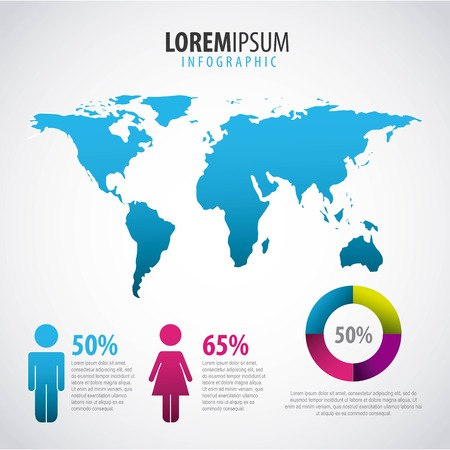 infographic people world map percentage and chart template vector illustration