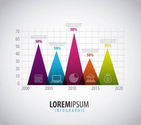 インフォグラフィック垂直三角形棒グラフパーセント統計テンプレートベクトル図