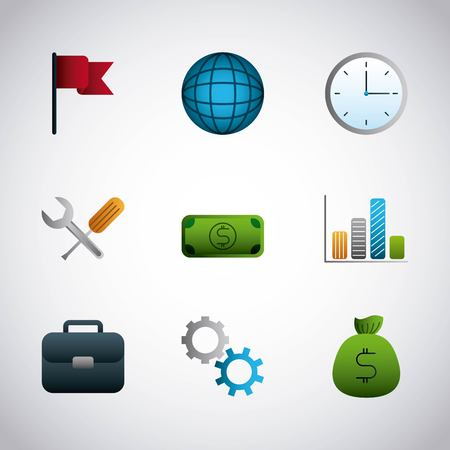 infographic set icons office business money vector illustration