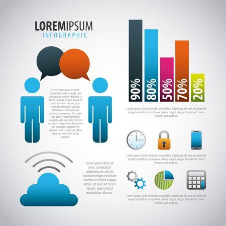 infographic  people internet online secure data bar graphs vector illustration
