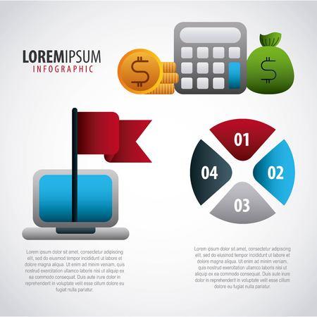 infographic  workflow chart laptop money dollar vector illustration