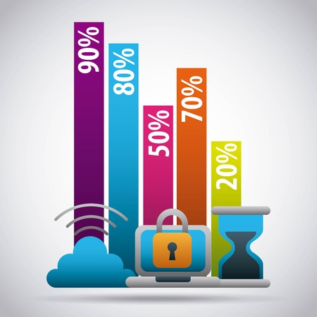 infographic  bar graphs percentage cloud security data time business vector illustration