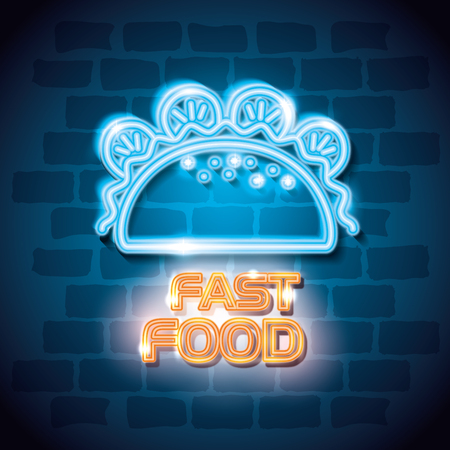 fast food burrito neon label vector illustration design  イラスト・ベクター素材