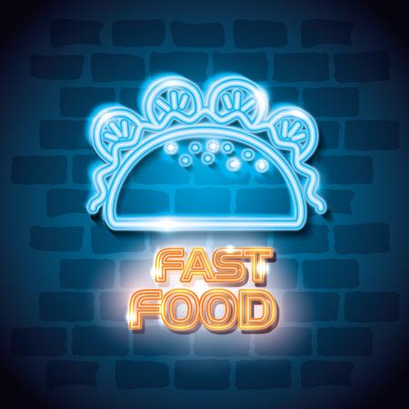 fast food burrito neon label vector illustration design 일러스트