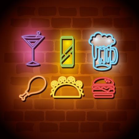 fast food neon label vector illustration design
