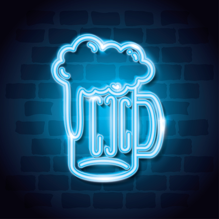 beer drink neon label vector illustration design