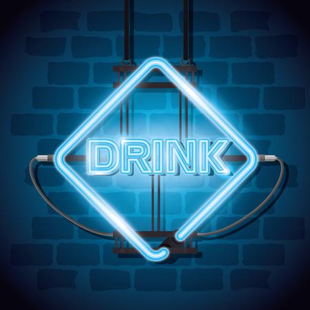 drink bar neon label vector illustration design