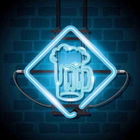 beer drink neon label vector illustration design