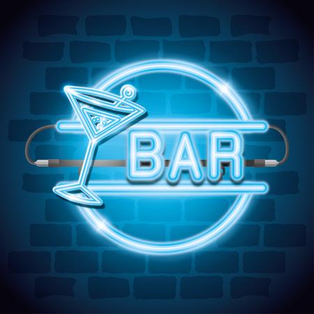 cocktail drink neon label vector illustration design