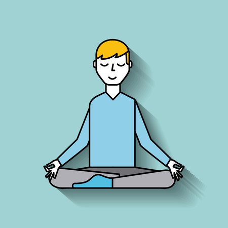 cartoon man levitating sitting in lotus pose vector illustration  일러스트