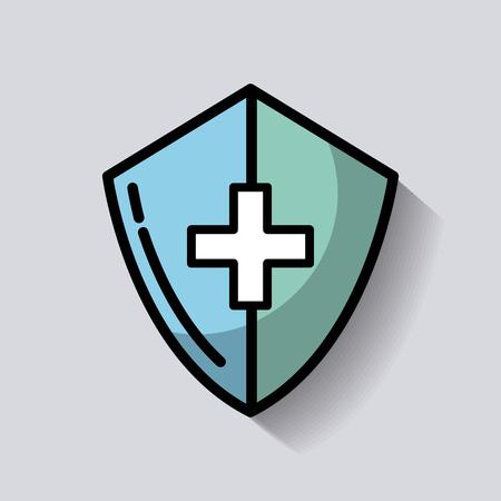 medical shield cross healthcare image vector illustration Standard-Bild - 97668055