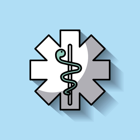 medicine emblem with snake cross symbol vector illustration