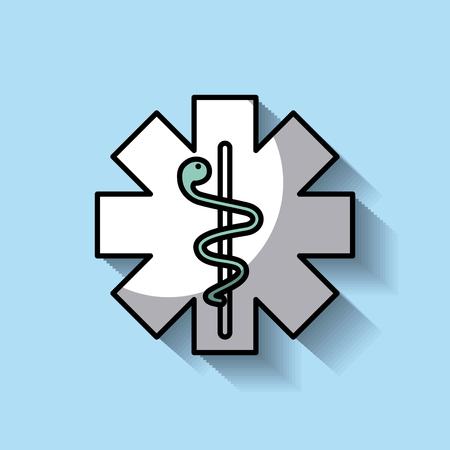 medicine emblem with snake cross symbol vector illustration