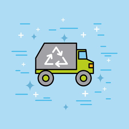 recycle ecology environment truck garbage vector illustration