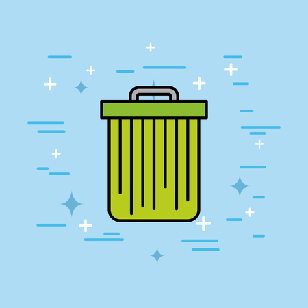 trash can recycle ecology environment vector illustration