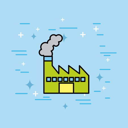 factory plant building refinery environment vector illustration