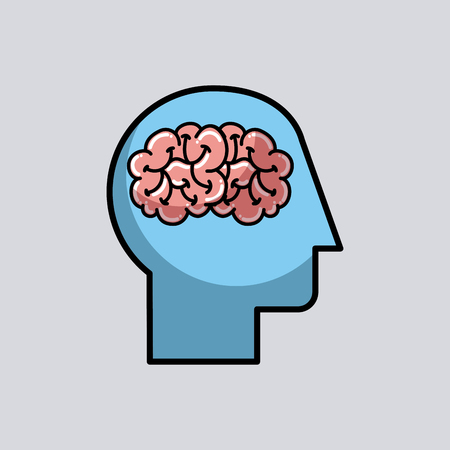 silhouette human head brain medical vector illustration  Illustration