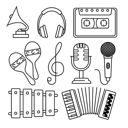 tropical instruments set icons vector illustration design 向量圖像