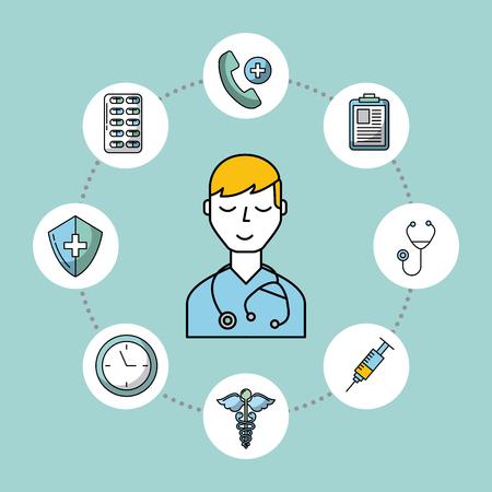 Medical doctor stethoscope health care vector illustration.