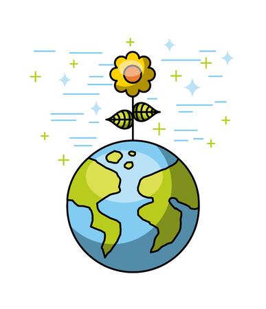 Environment world planet flower nature vector illustration.