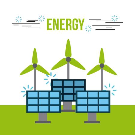 Energy renewable ecology solar panel turbine wind vector illustration.