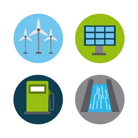 Energy renewable ecology environment turbine hydro dam solar panel gas vector illustration.