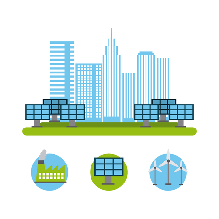 city energy renewable solar panel turbine wind reactor nuclear vector illustration Stock Vector - 97613682