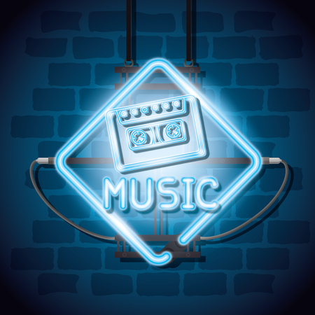 Music illuminated neon label vector illustration design.