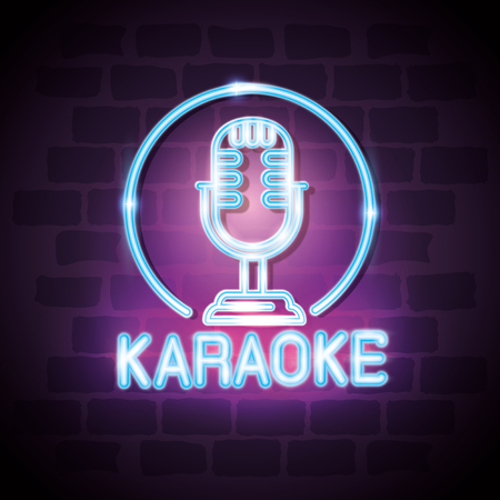 karaoke bar neon label vector illustration design