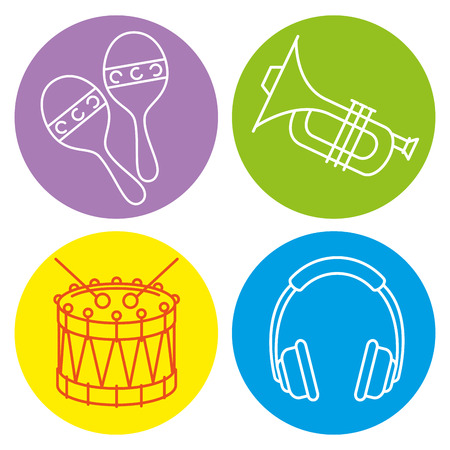 tropical instruments set icons vector illustration design Illusztráció