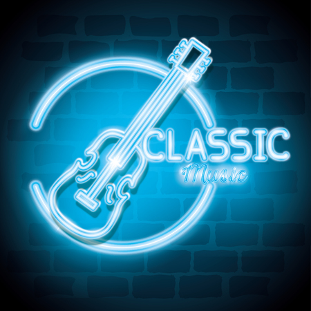 classic music bar neon label vector illustration design