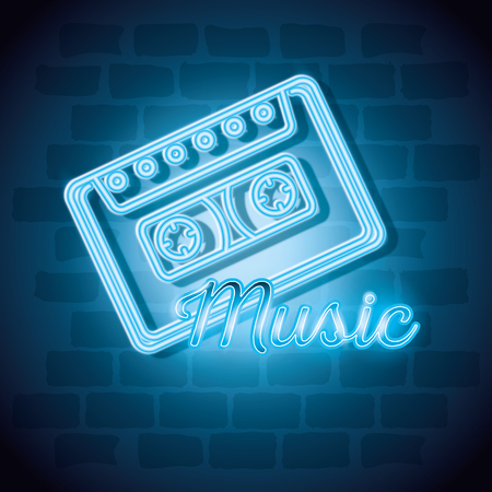 music iluminated neon label vector illustration design Иллюстрация