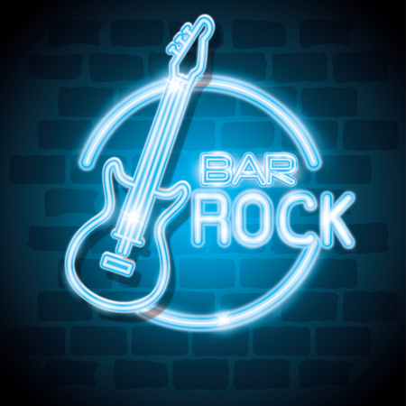 bar rock music neon label vector illustration design Çizim
