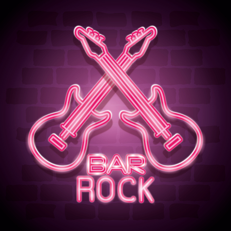 bar rock music neon label vector illustration design Vectores