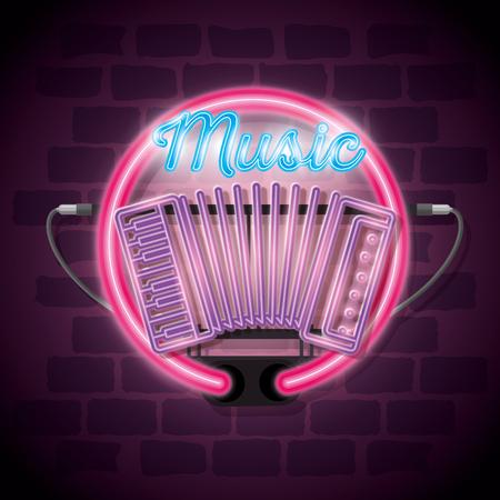 music iluminated neon label vector illustration design Ilustração